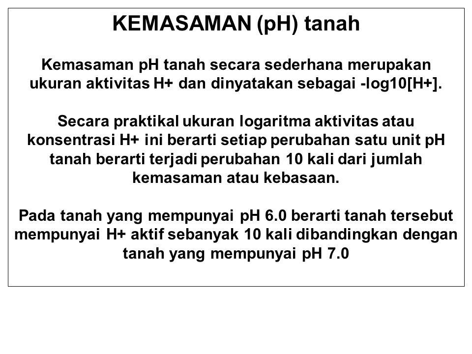KEMASAMAN (pH) tanah Kemasaman pH tanah secara sederhana merupakan ukuran aktivitas H+ dan dinyatakan sebagai -log10[H+].